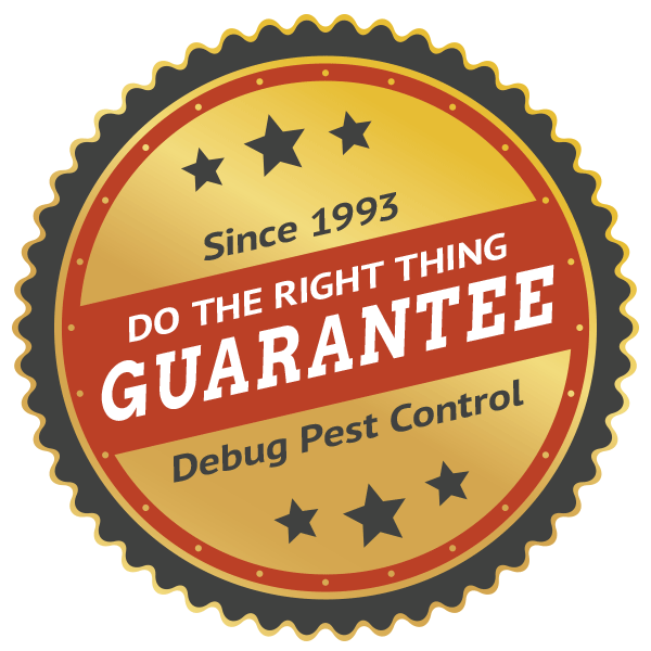 Debug's Do the right thing pest control guarantee badge seal