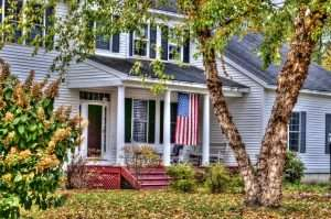 White Rhode Island Home with flag